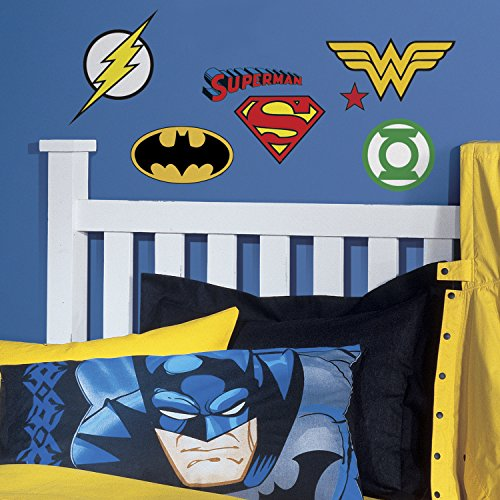 RoomMates RMK2749SCS DC Superhero Logos Peel And Stick Wall Decals,Multicolor