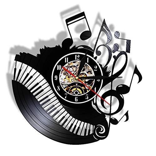 SSCLOCK Piano Room Note Musicali Orologio in Vinile Orologio Musicista pianista Insegnante Logo Personalizzato Arte della Parete Orologio in Vinile Amo la Musica Orologio