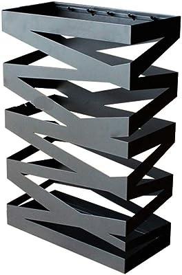 傘立てロングハンドル傘傘ホルダーステッキスタンド幾何学的な傘立てフロアラック出入り口配置鉄 (Color : BLACK, Size : 30*15*49CM)