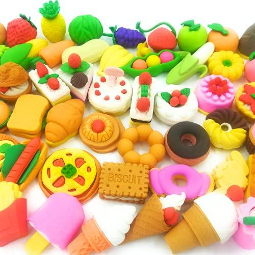 OHill Lebensmittel-Radiergummis für Kinder, zum Auseinanderziehen, 3D-Mini-Radiergummis, verschiedene Lebensmittel-, Kuchen-, Dessert-Puzzle-Radierer, für Geburtstagspartys, Geschenke, Schulklassenzimmer, Belohnungen und neuartiges Spielzeug