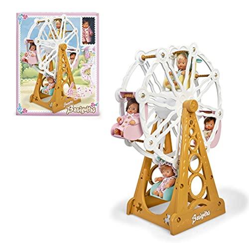 los Barriguitas - Noria musical con movimiento y sonido, incluye una muñeca bebé de las clásicas de siempre, con espacio para 4 muñecas, juguete para niñas y niños desde 3 años, Famosa (700016655)