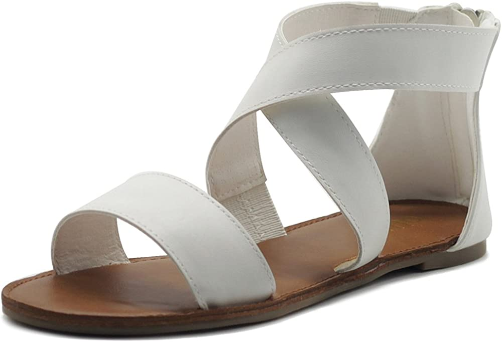 Ollio Women's Challenge the lowest price of Japan El Paso Mall ☆ Shoes Zip Up Gladiator Sand Cross Strap Criss Flat