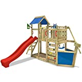 Wickey OceanFlyer Frame, Playground with Swing Slide Climbing Wall, Red slide
