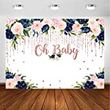 Avezano Oh Baby Navy and Blush Floral Backdrop for Girls Baby Shower Photography Background Navy Blue Navy Blue Blush Pink Rose Gold Floral Baby Shower Party Decoration Photoshoot Backdrops (7x5ft)