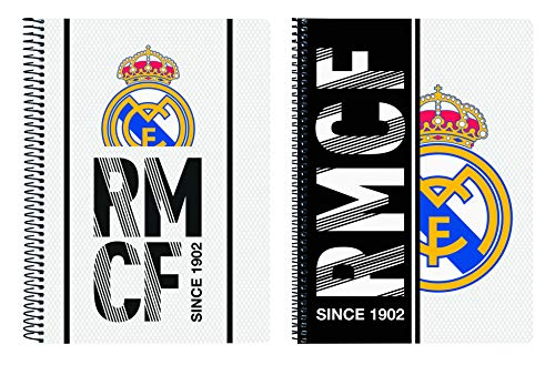 Real Madrid Bloc Tapa Dura, Blanco, 22 cm