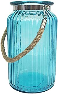 Glass Ribbed Cylinder Vase with Rope Handle 7.5in Aquamarine - Excellent Home Decor - Indoor & Outdoor