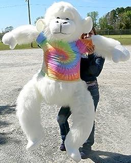 Big Plush American Made Giant Stuffed White Gorilla 6 Foot Soft Monkey Wears Rainbow Tie Dye T-Shirt