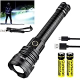 Garberiel 7000 High Lumens XHP90 Flashlight Super Bright RechargeableTactical Flash light with Zoomable Waterproof 5 Modes Power Bank Function for Hiking Hunting Camping Outdoor (Battery Include)