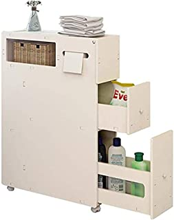 ZRL77y Toilet Moving Side Cabinet Bathroom Storage Tray Toilet Clearance Shelf Watertight with Drawers with Movable Wooden...