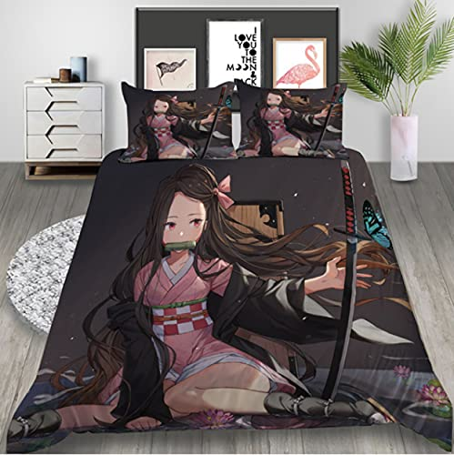 ysldtty 3D Bedding Set Anime 3D Printed Duvet Covers Pillowcases Comforter Bedclothes Bed Linen H3028U 220CM x 240CM With 2 pice pillowcase 50CM x 75CM