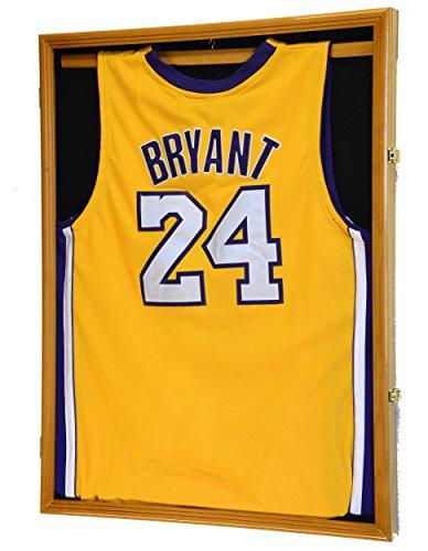 Basketball Jersey Display Case Cabinet 98% UV Lockable, Oak Finish