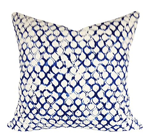 Promini John Robshaw Blue Geometric Fabric for Pillow Covers Decorative Pillow Throw Pillow Covers Case Cushion Pillowcase with Hidden Zipper Closure for Sofa Home Decor 20 x 20 Inches