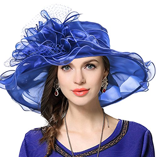 JESSE  RENA Women's Church Derby Dress Fascinator Bridal Cap British Tea Party Wedding Hat (Royal Blue)