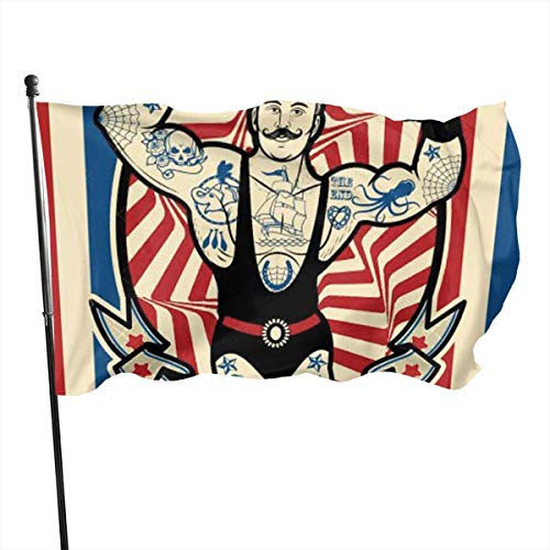 Viplili Banderas Strong Man with Tattoos and Muscles Circus Star Flag 3x5 FT Garden Flag Tough The Strongest, Longest Lasting Flag National Flag Outdoor Flags