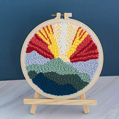 Creative Gift Landscape Series Pattern DIY Rug Hooking Full Set Yarn Punch Needle Embroidery Kit with Patterns Latch Hook Kits for Kids Beginner Easy Preprinted