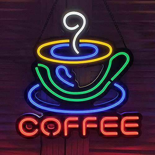 Taza de café Diseño único Letrero de neón LED más Brillante Luces de neón de Pared artística para Bar Cerveza Dormitorio Decoración navideña Letreros de neón LED con patrón de café