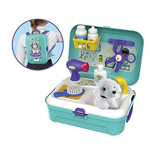 Nikgic Tierpflege Spielzeug für Kinder Mit Blue Box Pet Beauty Set für Kinder Rollenspiel Hundepuppe Kamm Fön Schere Spielzeug Geschenk zum Kinder Mädchen Jungen Geburtstag Party Kindertag Weihnachten