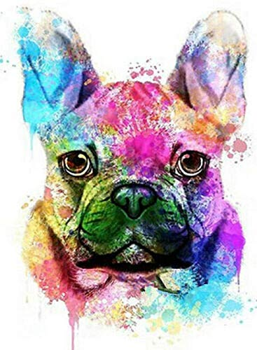 VYQDTNR DIY 5D Diamond Painting Kits Full Drill Square Diamonds Pictures Diamond by Number Kits French Bulldog Rhinestone Embroidery Cross Stitch Home Wall Décor Gift.