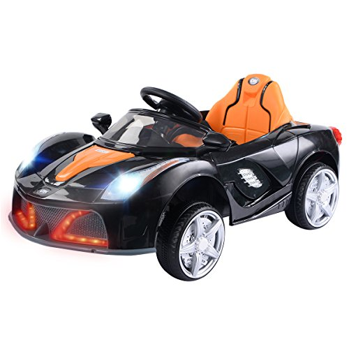 Costzon Kids Ride On Car, 12V Battery Powered Vehicle, Parental RC Remote Control & Manual Modes w/LED Lights, Horn, Music, MP3, Open Doors, High/Low Speed, Black