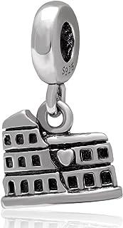 Rome Colosseum Coliseum Charm 925 Sterling Silver World Travel Tourist Bead Charm for European Charm Bracelet