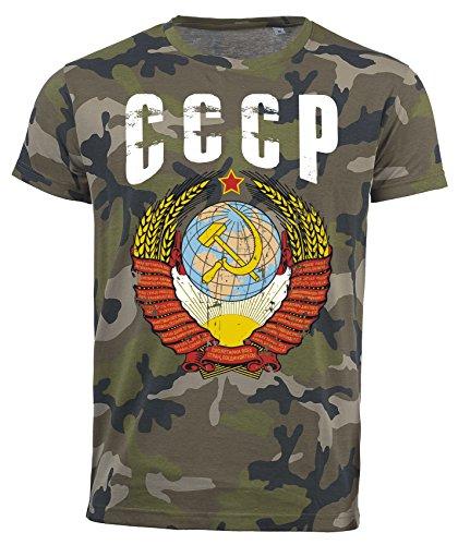 T-Shirt CCCP Camouflage Army WM 2018 .- Vintage Destroy Wappen D01 (XL)