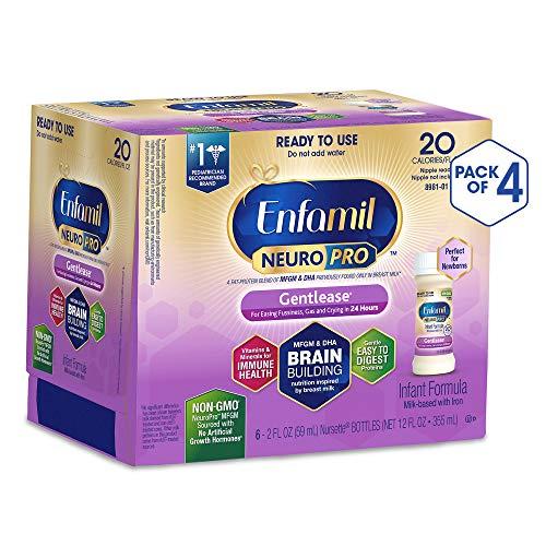 Image of Enfamil NeuroPro Gentlease Ready to Feed Baby Formula Gentle Milk, 2 Fluid Ounce Nursette (24 Count) - MFGM, Omega 3 DHA, Probiotics, Iron & Immune Support