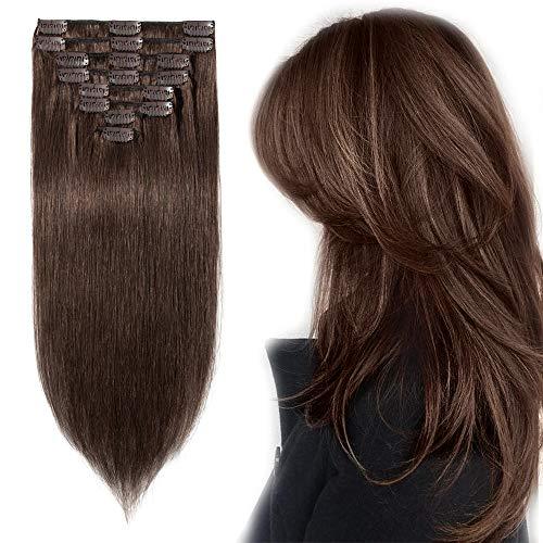 Extension a Clip Cheveux Naturel Lisse - Rajout 100% Vrai Cheveux Humain - Epaisseur Moyenne - 8 Bandes (#4 MARRON CHOCOLAT, 35 cm 80g)
