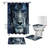 T&H XHome Luxury Shower Curtain Set 4 Pcs for Bathroom,3D Lion Head with Blue Eyes Animal Pattern-Durable Waterproof Bath Curtains with Non-Slip Bath Rug Mat,Toilet Lid Cover & Contour Mat