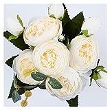 YTNGYTNG Flores Artificiales 30 cm Rosa Rosa peonía de Seda Flores Artificiales Ramo 5 Gran Cabeza y 4 Flores Falsas Baratas para la decoración de la Boda en el Interior (Farbe : White)