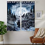 HommomH 24 x 36 inch Curtains (2 Panel) Grommet Top Darkening Blackout Room Moon Wolf