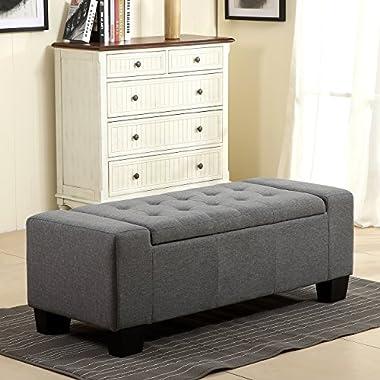 Belleze 48  Rectangular Fabric Tufted Storage Ottoman Bench, Large, Slate Grey