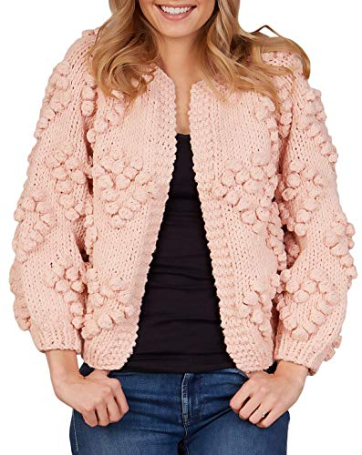 Women's Cardigan Sweater Heart Shape Love Mother's Day Pom Poms, Pink, Medium