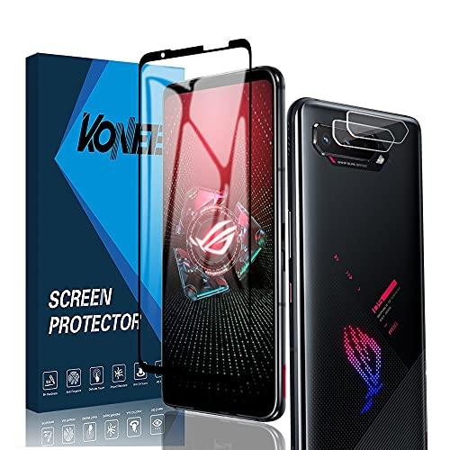 KONEE Protector de Pantalla Compatible con ASUS ROG Phone 5 / ASUS ROG Phone 5 Pro + Protector de Lente de Cámara 【2 + 2 Piezas】, [Anti Arañazos] Cristal Vidrio Templado para ASUS ROG Phone 5/5 Pro
