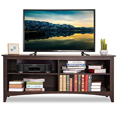 Tangkula TV Stand, Modern Wood Large Wide Entertainment Center for TV up to 60