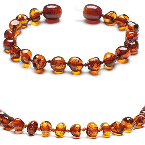 Baltic Secret New Baltic Amber Anklet Bracelet Cognac - Handmade 100% Genuine Amber Beads - Premium Quality - 13.5cm