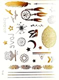 28 tatuajes temporales metálicos resistentes al agua – Tatoo temporal dorado – Joya para la piel atrapasueños búho