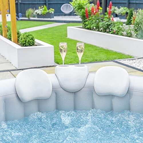 CosySpa Whirlpool Zubehör Set – Getränkehalter & 2 Kopfstützen | Wasserfest Whirlpool Spa Komfort Set aus PU | Aufblasbare Whirlpool Zubehör | Nackenkissen & Getränkehalter