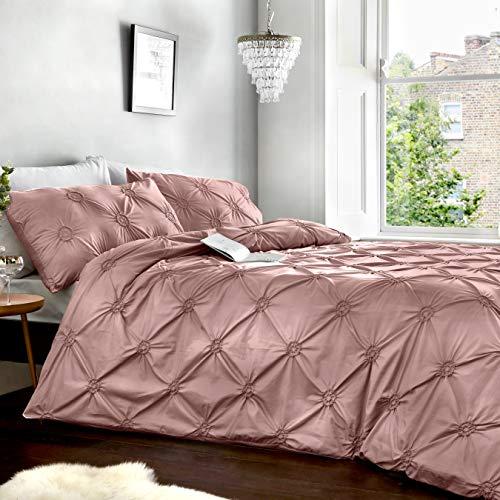 Housse de Couette Signature « Elisa » Delicate 100 % Coton, Classique froncée à Motif rosacé, Coloris Blush, Coton, Rose poudré, Simple