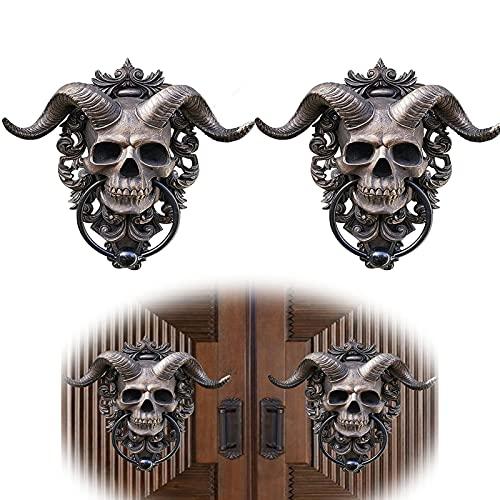 2pcs resina cráneo colgando aldaba, dios cuerno de cráneo, alumno de la puerta de la colgada, diabólico con cuernos de esqueleto que cuelga la decoración de la pared, decoración de la puerta de la res