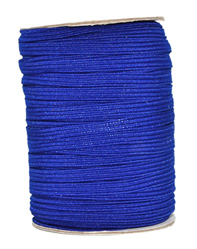 Mandala Crafts Flat Elastic Band, Braided Stretch Strap Cord Roll for Sewing and Crafting; 1/4 inch 6mm 50 Yards Royal Blue