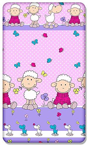 100% katoen getailleerd shirt met gedrukt ontwerp voor BABY JUNIOR bed 160x70CM (schapen roze)