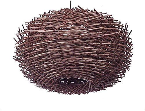 JIAN Exquise Lighting van ZjNhl Natuurlijke rotan hanglamp Vogel figuur nestkast landelijke stijl E27 kroonluchter Home Cafe bar plafondlamp (grootte: 40 cm)