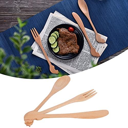 Juego de cuchara y tenedor, cuchara de madera, tenedor, cuchillo, cubiertos de madera, 3 piezas para viajes, picnic, escuela, oficina