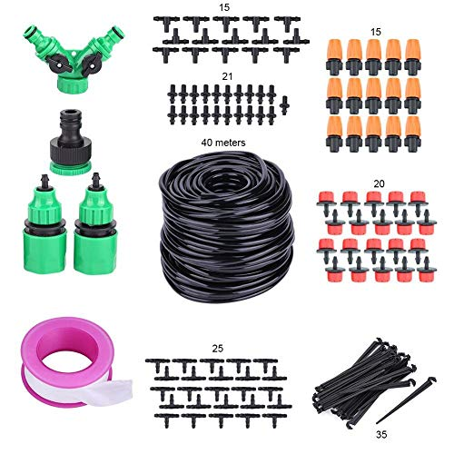 Liineparalle 40M Drip Irrigation Kits Micro Watering System DIY Saving Water Automatic Irrigation Equipment Set for Flower Bed,Patio Plants