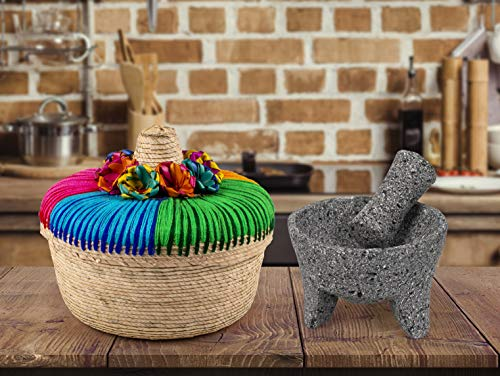Genuine Handmade Mexican Mortar and Pestle, Molcajete de Piedra Volcanica Mexicana, Perfect for Homemade Salsas, Guacamole, and other Molcajete Plates | Made in Mexico (8 IN)