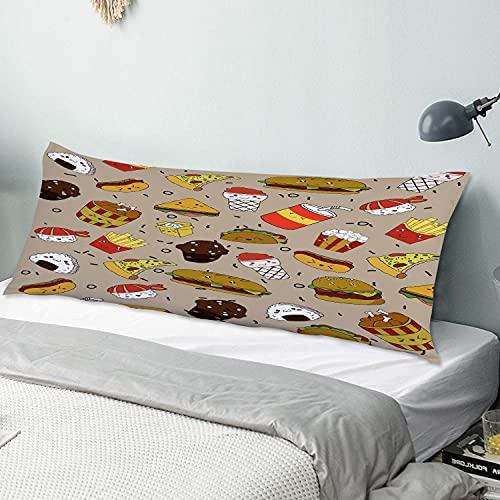 Personalizado Funda de Almohada Larga,Comida Rápida 3 Piezas Pizza Hamburguesa Papas Fritas Magdalena Deliciosos Postres,Funda de Almohada para el Cuerpo con Cremallera Sofá para Dormitorio,54' x 20'