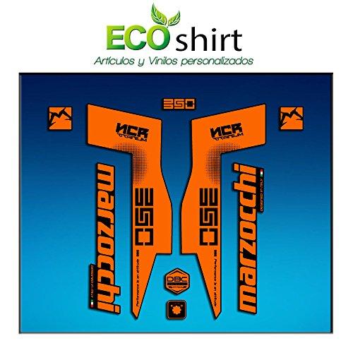 Ecoshirt HN-TYGU-54VC Autocollants Fork Marzocchi 350 NCR Titanium Am76 Autocollants Fourche Gabel Fourche Fourche Orange