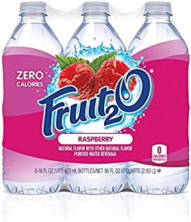 Fruit2O Zero Calorie Flavored Water, Raspberry, 6 Count (Pack of 4)