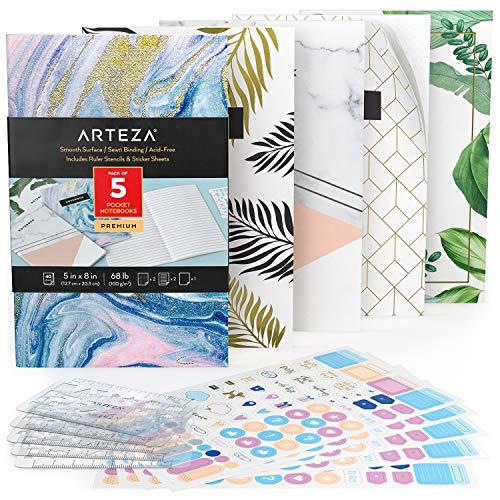 Arteza Cuadernos de Bolsillo (12,7 X 20,3 cm), Pack de 5 Cuadernos Personalizados, Estílos variados con 2 Cuadernos Rayados, 2 Punteados y 1 con Hojas en Blanco, Encuadernación Cosida y Papel Grueso