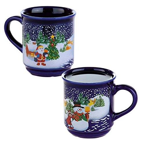 48 x Glühweinbecher Glühweintassen 25cl Weihnachten Blau ohne Füllstrich 0,2 l